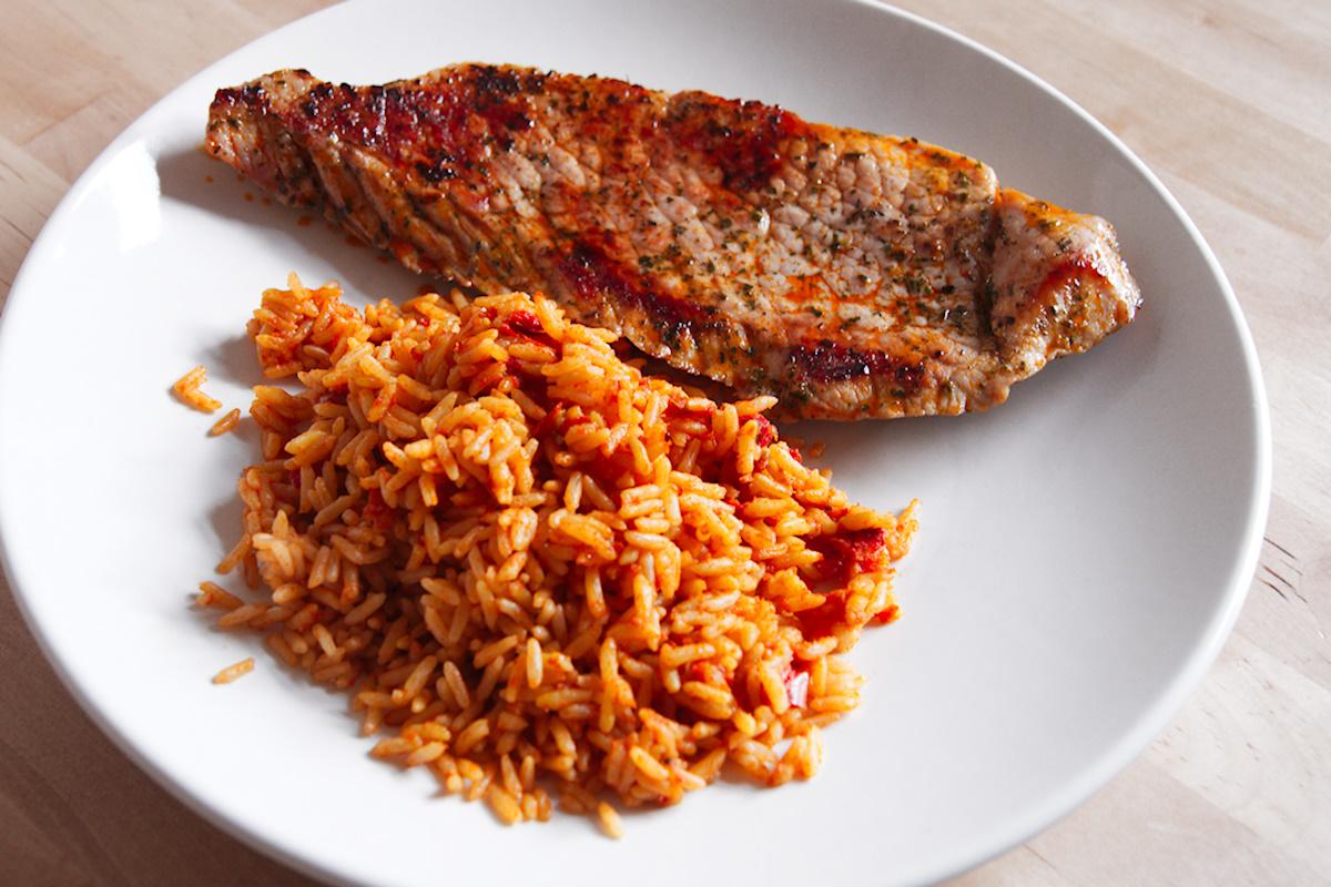Steak mit Reis
